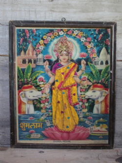 1950s Print of Goddess Laxshmi standing on a Lotus Flower